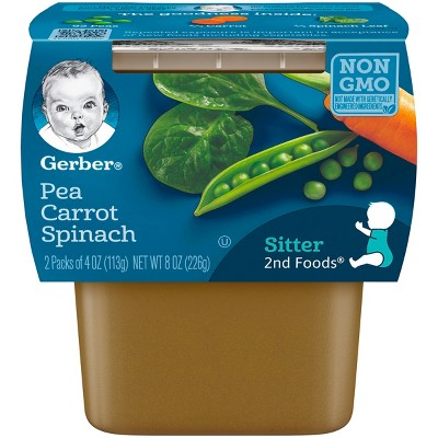 Gerber 2nd Foods Pea Carrot Spinach Baby Food - 4oz (2ct)