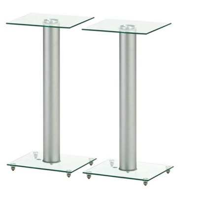 Monoprice Glass Speaker Stand - 23 Inch (Pair) With Cable Management, Supports up to 22 Pounds (10kg), Sturdy and Durable