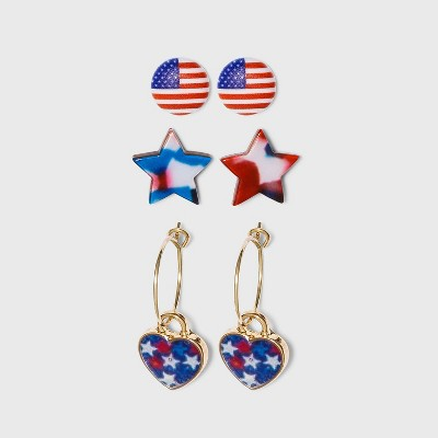 Americana Star and Heart Hoop Multi Earring Set 3pc
