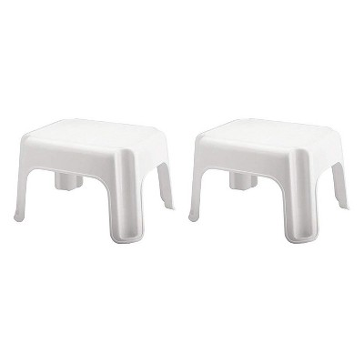 Rubbermaid Durable Plastic Roughneck Step Stool w/ 300-LB Weight Capacity, White (2-Pack)