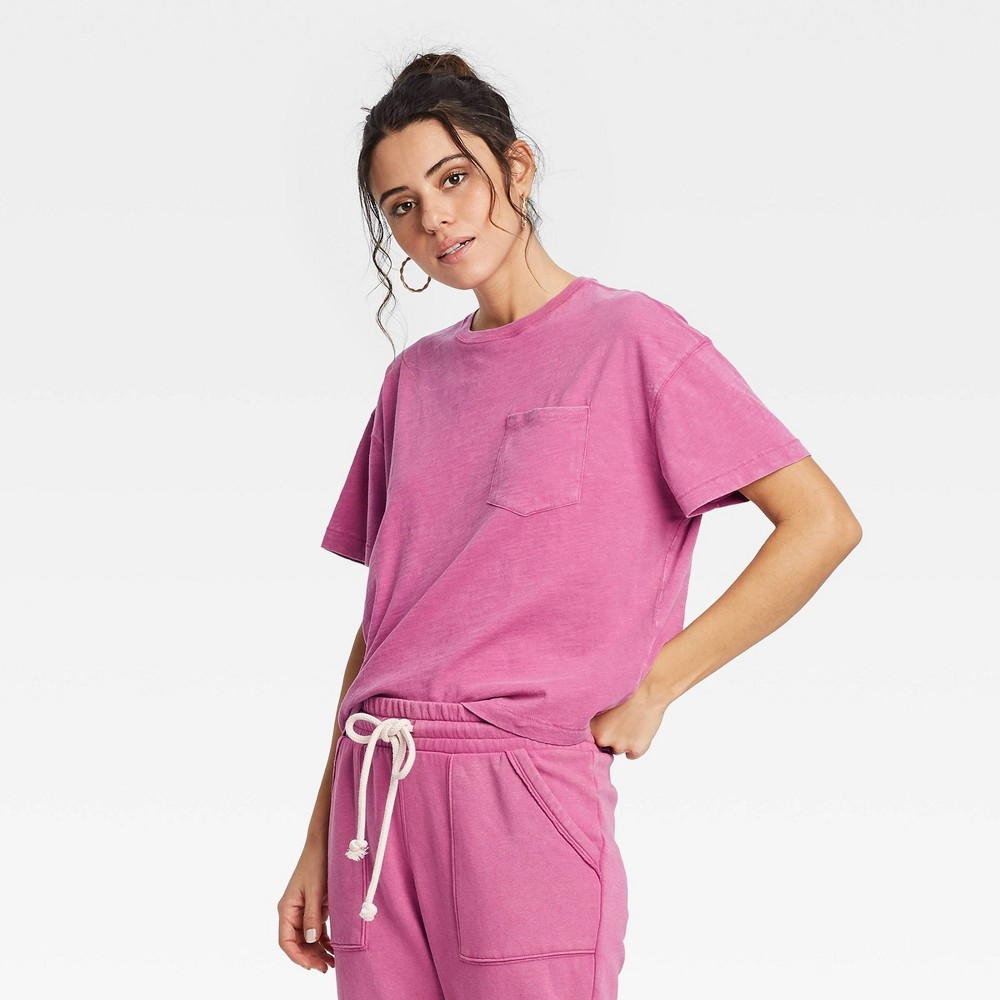 Women 39 S Short Sleeve Boxy T Shirt Universal Thread 8482 Pink S