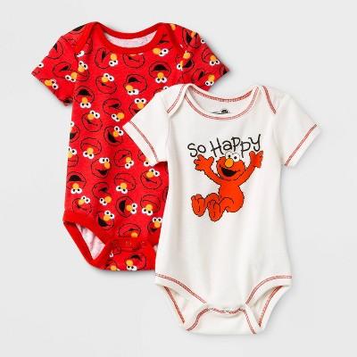 Baby Boys' 2pk Sesame Street Elmo Long Sleeve Hooded Bodysuit - White/Red 6-9M