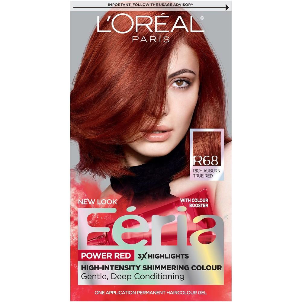 L'Oreal Paris Feria High - Intensity Shimmering Color Power Reds - R68 Rich Auburn True Red - 1 kit, Power Reds R68 Rich Auburn True Red