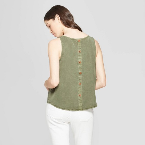 93c782822 Women's Striped Button Back Tank - Universal Thread™ Olive : Target