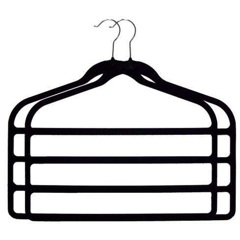 Huggable Hangers 2pc 4-Bar Hangers - Black - image 1 of 1