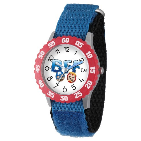 Boys' Marvel® Emoji Iron Man And Captain America Stainless Steel Time Teacher Watch - Blue - image 1 of 2