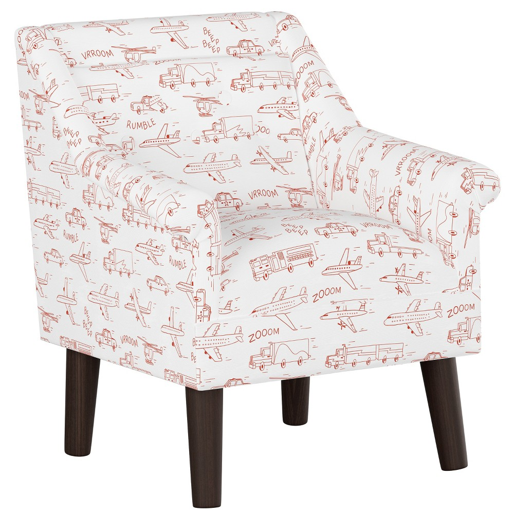 Kids Button Tufted Modern Chair Red Planes with Espresso Legs - Pillowfort