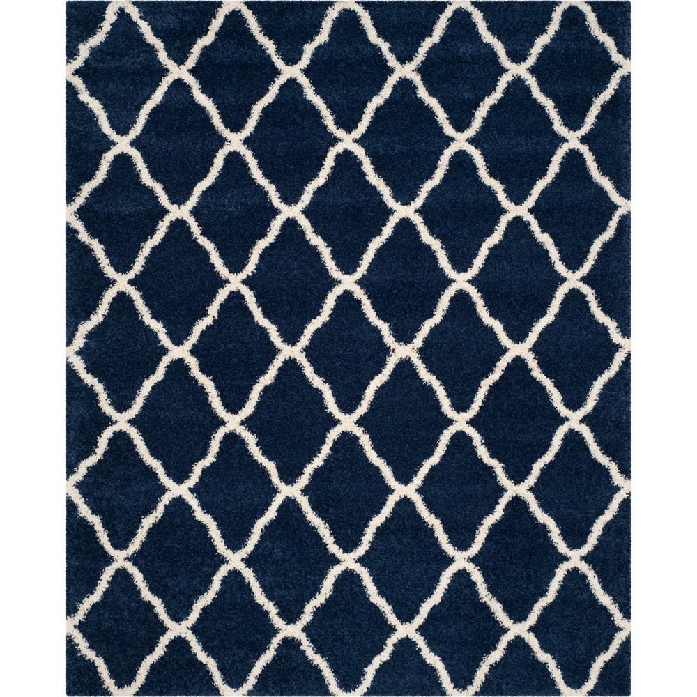 10'X14' Quatrefoil Design Loomed Area Rug Navy/Ivory (Blue/Ivory) - Safavieh