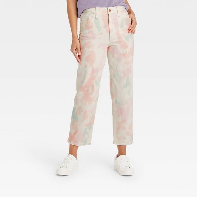 Women's High-Rise Vintage Straight Cropped Jeans - Universal Thread™ Pink