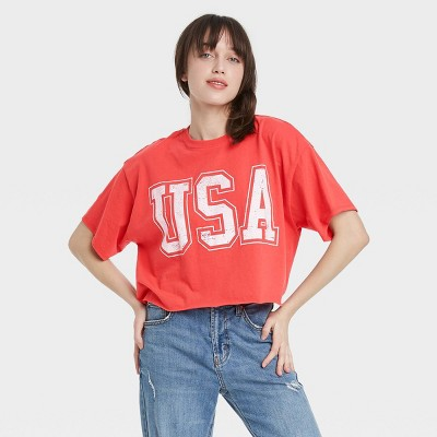 Women's USA Short Sleeve Cropped Graphic T-Shirt - Red