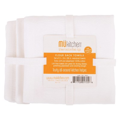 9pk Flour Sack Towel White - MU Kitchen