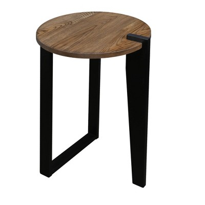 Contemporary Round End Table Gray/Black - Flora Home