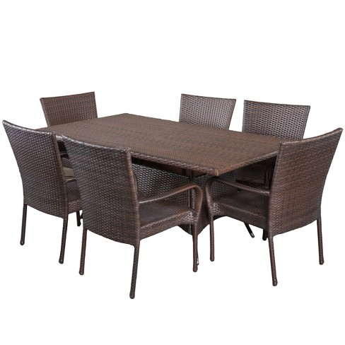 Dunham 7pc Wicker Patio Dining Set - Multibrown - Christopher Knight Home - image 1 of 4