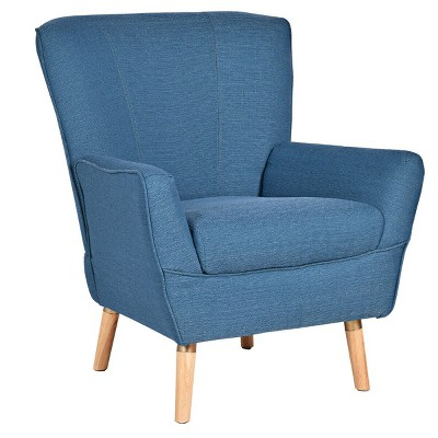Costway Accent Leisure Arm Chair Upholstered Sofa Wooden Legs Living Room Furniture