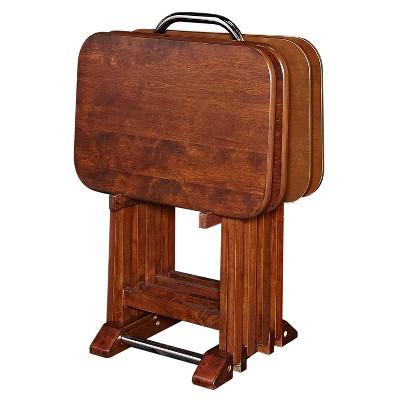 Grant Tray Tables Dark Cherry/Chrome - Powell Company