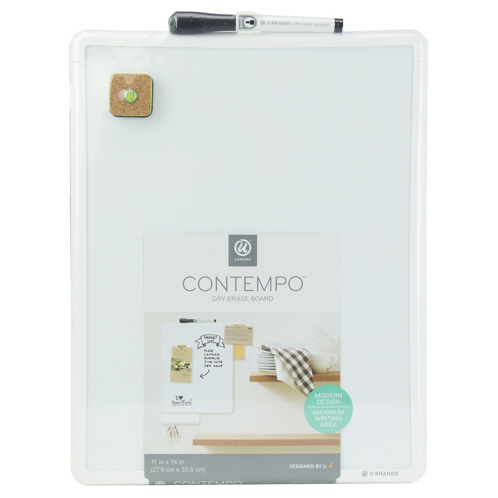 Ubrands Comtempo White Frame Magnetic Dry Erase Board - 11