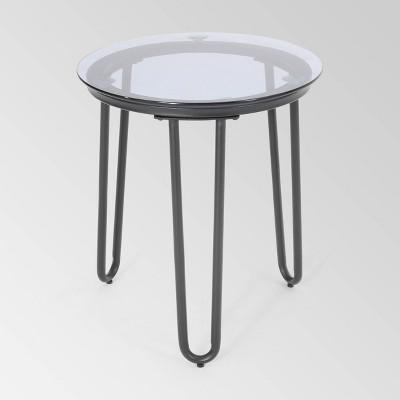 La Jolla Iron Modern Side Table - Black - Christopher Knight Home