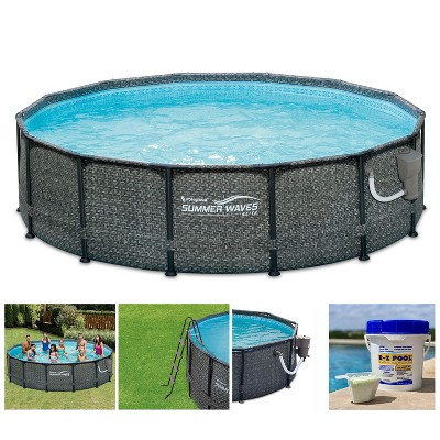Summer Waves P2001448E14ft x 48in Round Frame Above Ground Swimming Pool Set with Ladder, Skimmer Pump, Cartridge, Solution Blend, and Ladder, Gray
