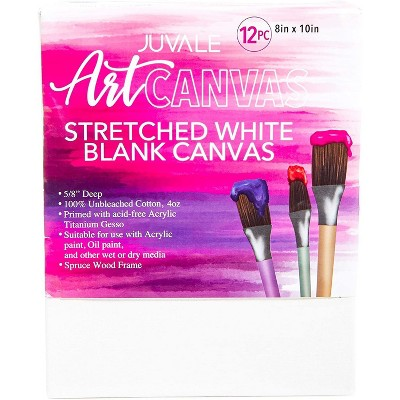 """Juvale Stretched Canvas Panels, 8"""" x 10"""" Artist Canvas Boards for Painting, 12 Pack"""