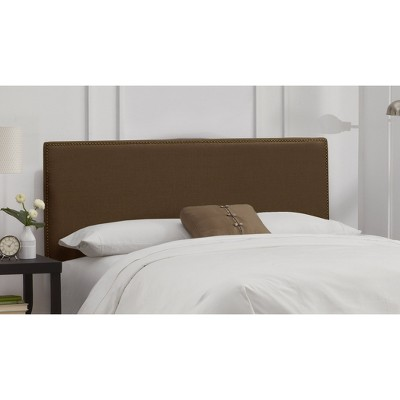 California King Arcadia Nailbutton Headboard Linen Chocolate with Brass Nail Buttons - Skyline Furniture, Linen Brown