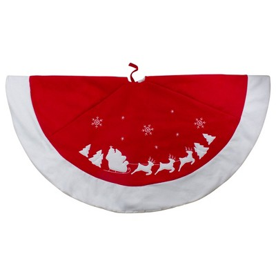 Northlight Santa Claus and Reindeer Christmas Tree Skirt - Red/White