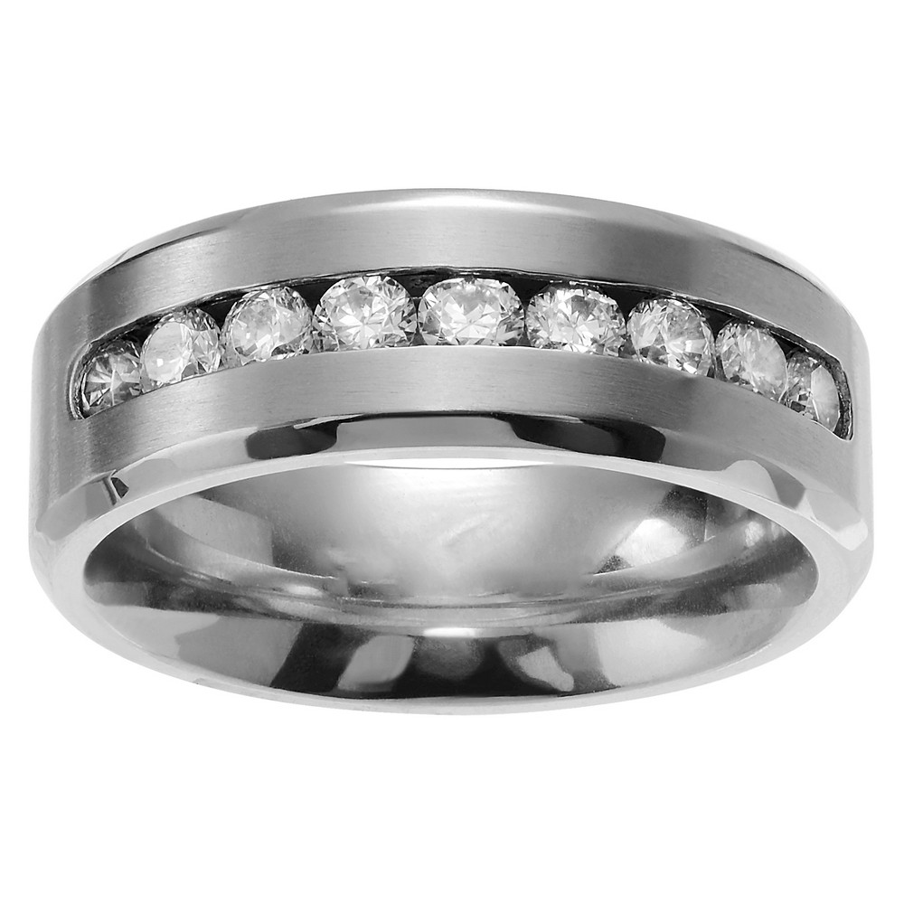 5 / 8 CT. T.W. Round-cut CZ Men's Brushed Wedding Channel Set Band in Titanium - Silver, 10 (8mm)