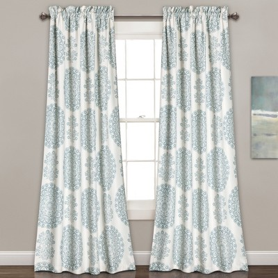 Evelyn Medallion Room Darkening Window Curtain Set Blue (84 x52 )- Lush Décor