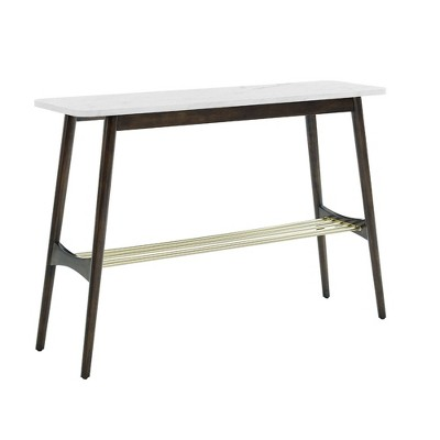 Barbara Mid-Century Modern Entry Table with Lower Storage Rack Faux Marble - Saracina Home