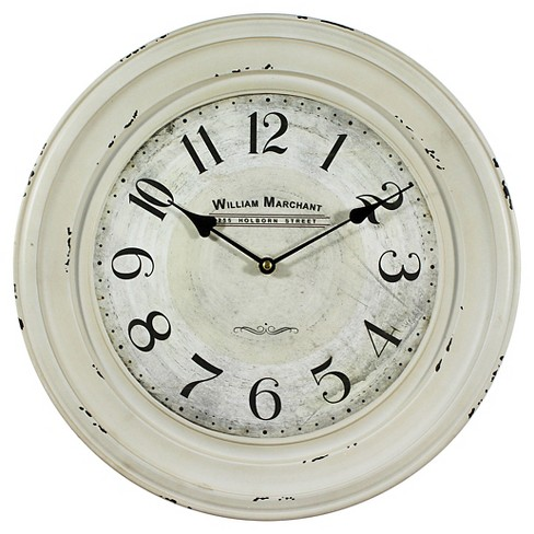 "15¾"" Round Wall Clock Distressed White - Yosemite Home Decor® - image 1 of 1"