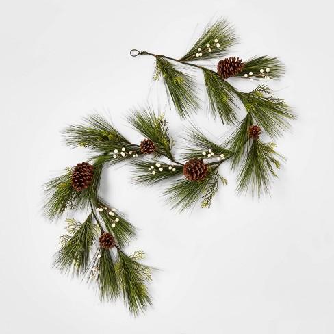 6' Unlit Green Artificial Christmas Garland with White Berries & Pinecones - Wondershop™ - image 1 of 2