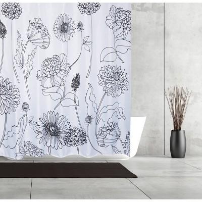 Sketchbook Shower Curtain Black/White - Moda at Home