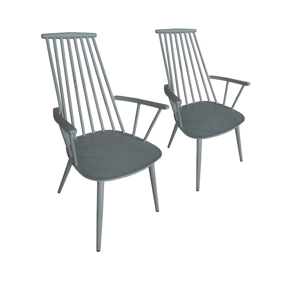 Image of 2pk Hancock Aluminum Indoor/Outdoor Rustic Dining Chair Retro Gray - Thy Hom