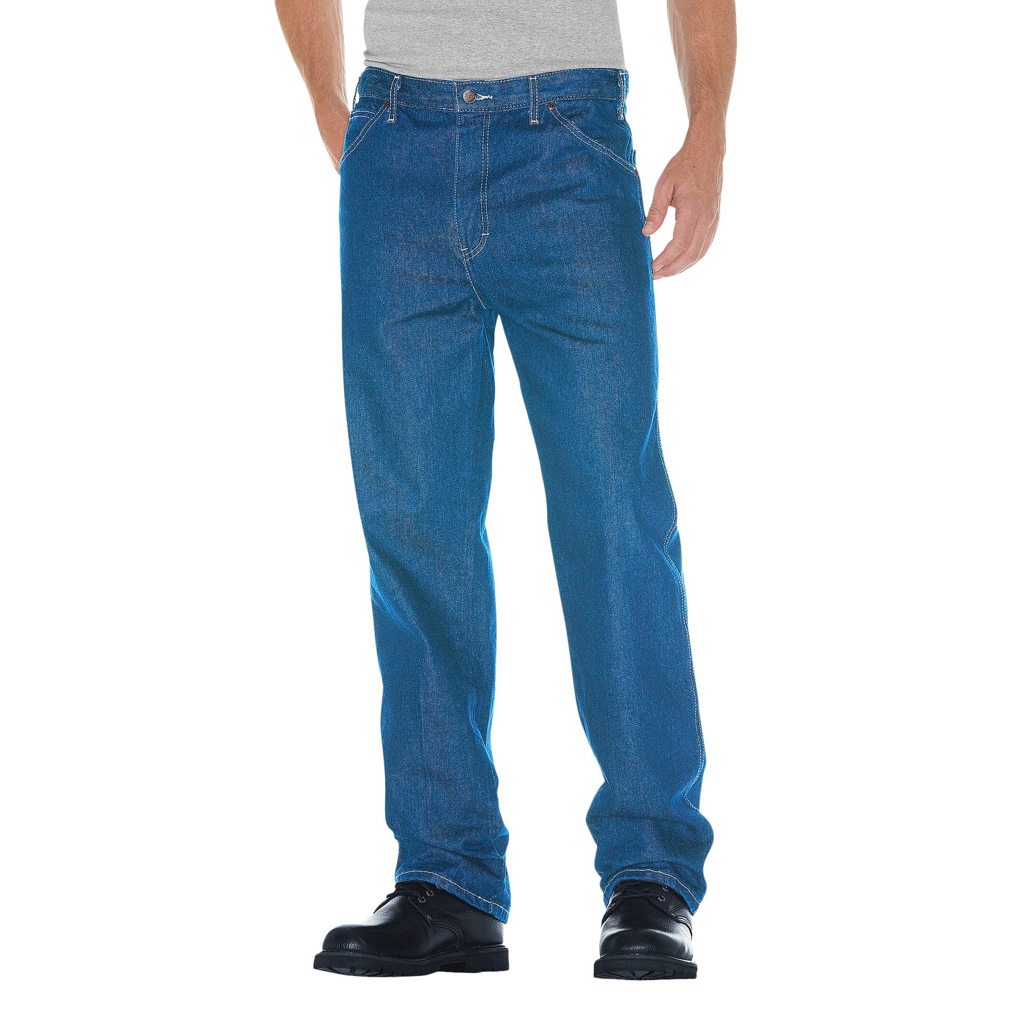 Dickies Men's Tall Relaxed Straight Fit Denim 5-Pocket Jeans Stone Washed 38x36, Men's, Grey Washed