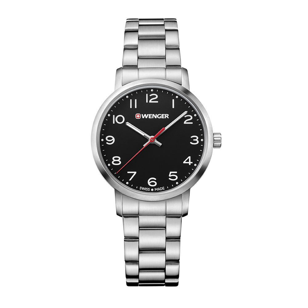 Image of Women's Wenger Avenue - Swiss Made - Black Dial Stainless Steel Bracelet - Black, Size: Small