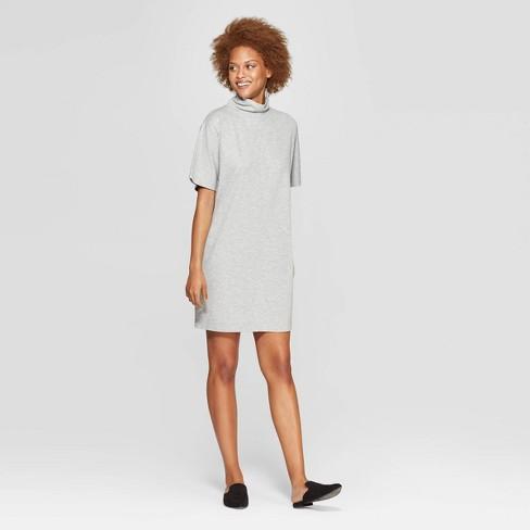 e9c82bef1dd77 Women s Short Sleeve Turtleneck Shirtdress - Prologue™ Heather Gray ...