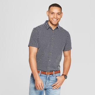 Men's Jacquard Short Sleeve Novelty Button-Down Shirt - Goodfellow & Co™ Navy 2XL