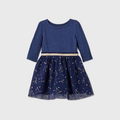 Toddler Girls' Constellation Tulle Long Sleeve Dress - Cat & Jack™ Navy 12M