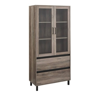 "68"" Glass Door Storage Hutch - Saracina Home"