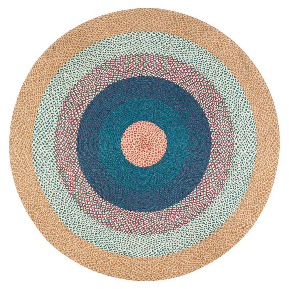 8' Round Blend Jute Rug Beige/Blue - Anji Mountain 8' Round Blend Jute Rug Beige/Blue - Anji Mountain Gender: unisex. Pattern: Shapes.
