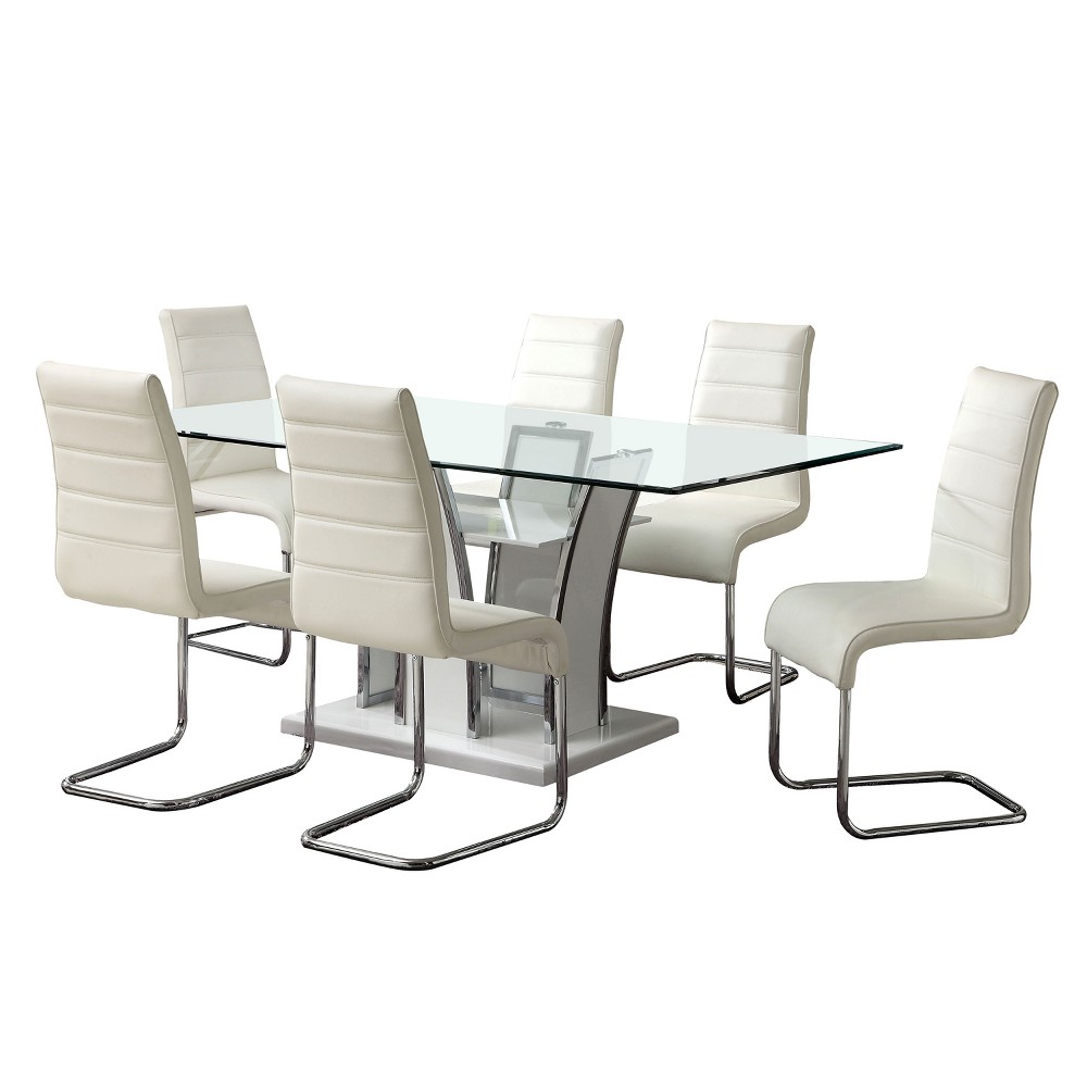 ioHomes 7pc Glass Top Open Shelf Base Dining Table Set Metal/White