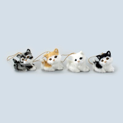 Lakeside Christmas Pet Ornaments - Tree Decoration for Animal Lovers - Cats - Set of 4