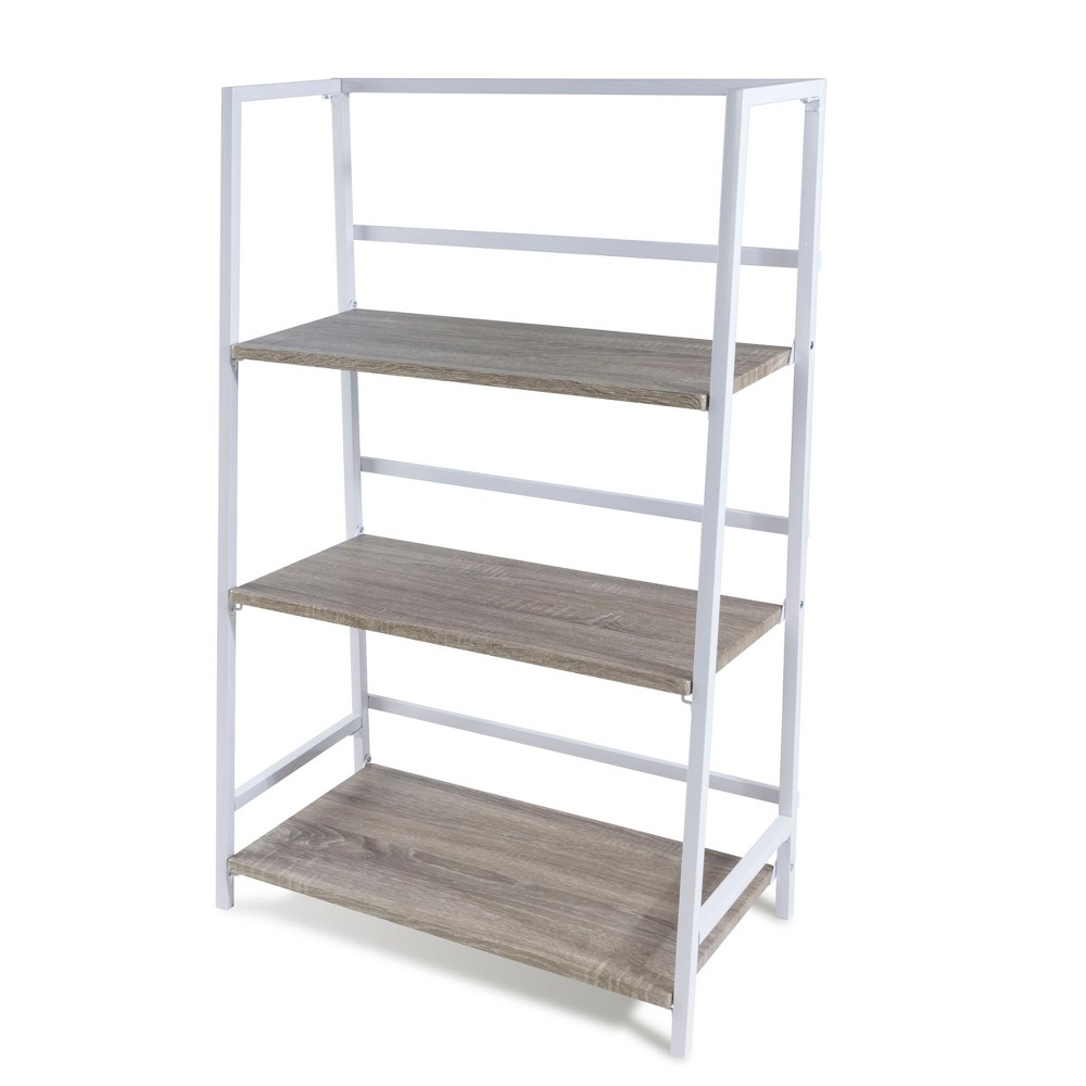Image of Folding 3-Tier Shelf - White / Gray - urb SPACE