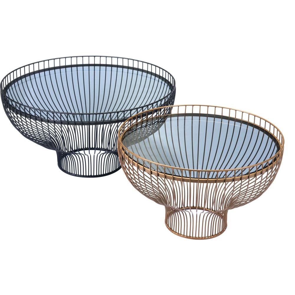 Global Set of 2 Round Steel/Glass Tables Black/Gold - ZM Home, Gold/Black