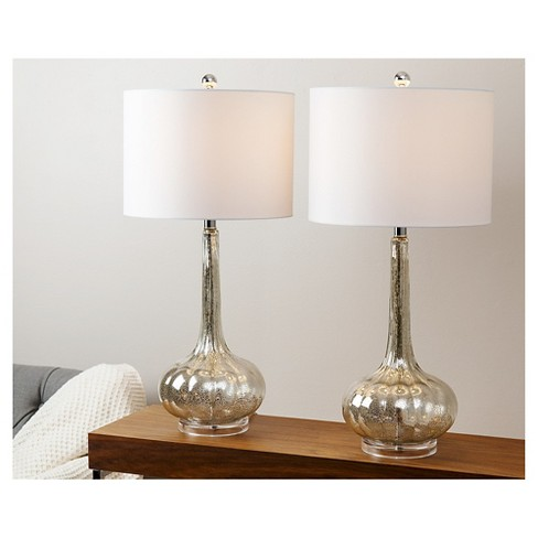 Abbyson Living Michelle Antique Glass Table Lamp Set Of 2 Silver