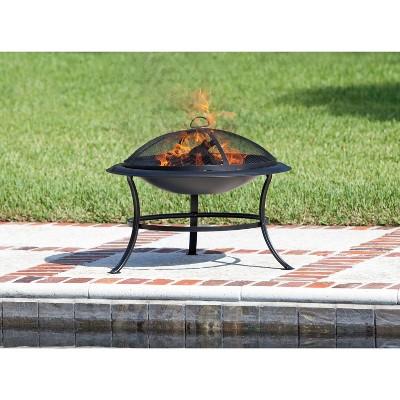 Tokia Round Wooden Black Fire Pit - Fire Sense