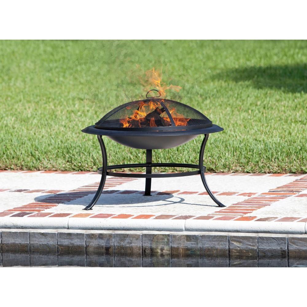 Image of Tokia Round Wooden Black Fire Pit - Fire Sense