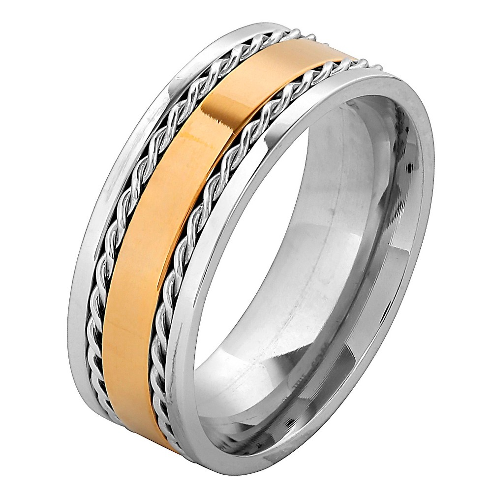 Men's West Coast Jewelry Goldplated Stainless Steel Twisted Rope Inlay Band Ring (12), Silver Gold