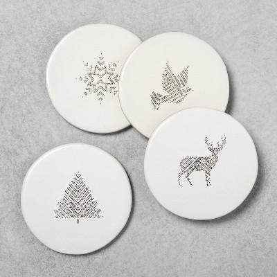 4pk Coaster Set Holiday Motifs Sour Cream - Hearth & Hand™ with Magnolia
