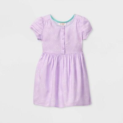 Toddler Girls' Sunburst Button-Front Short Sleeve Dress - Cat & Jack™ Purple 12M