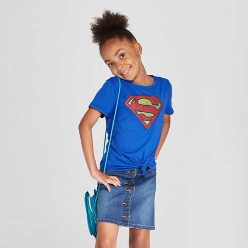 Girls' Superman Short Sleeve T-Shirt - Blue - image 1 of 3